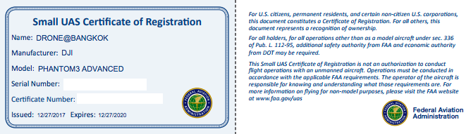 FAA drone registration number
